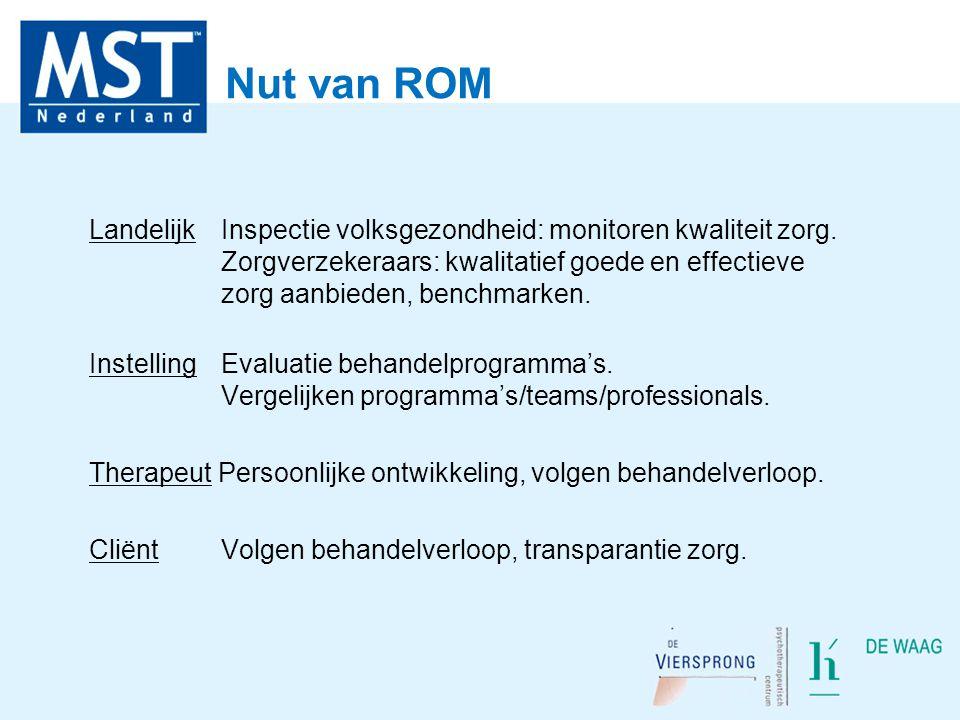 Nut van ROM Landelijk Inspectie volksgezondheid: monitoren kwaliteit zorg. Zorgverzekeraars: kwalitatief goede en effectieve zorg aanbieden, benchmark