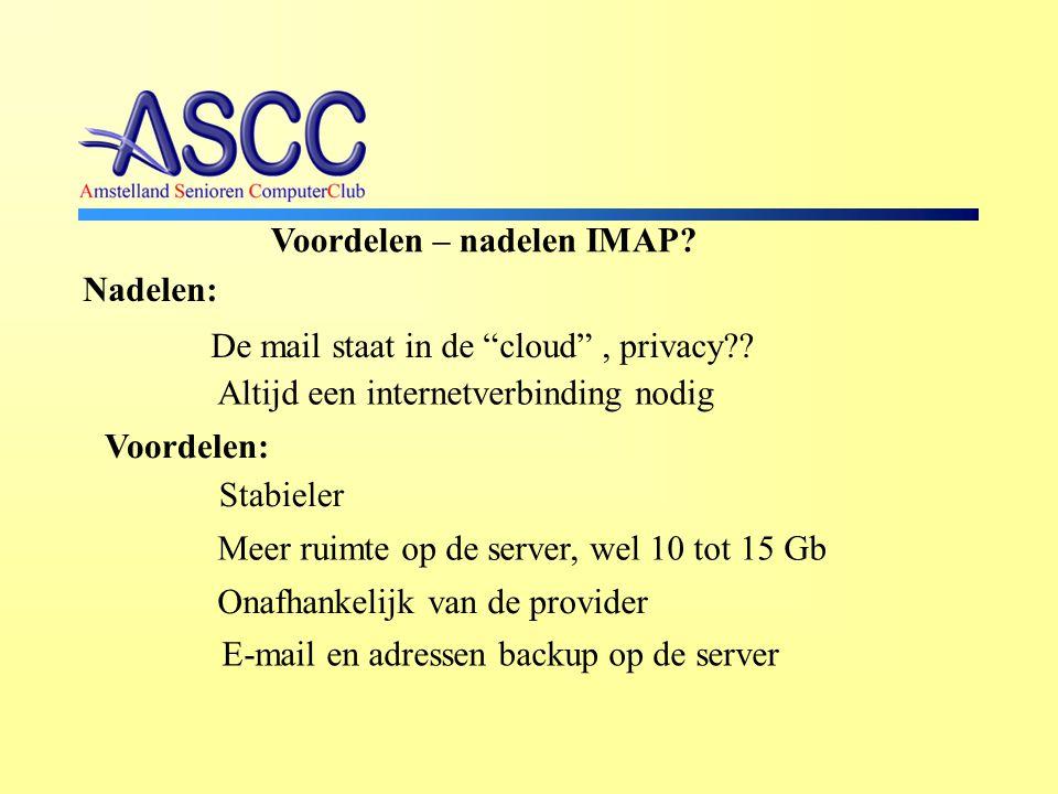 Voordelen – nadelen IMAP.