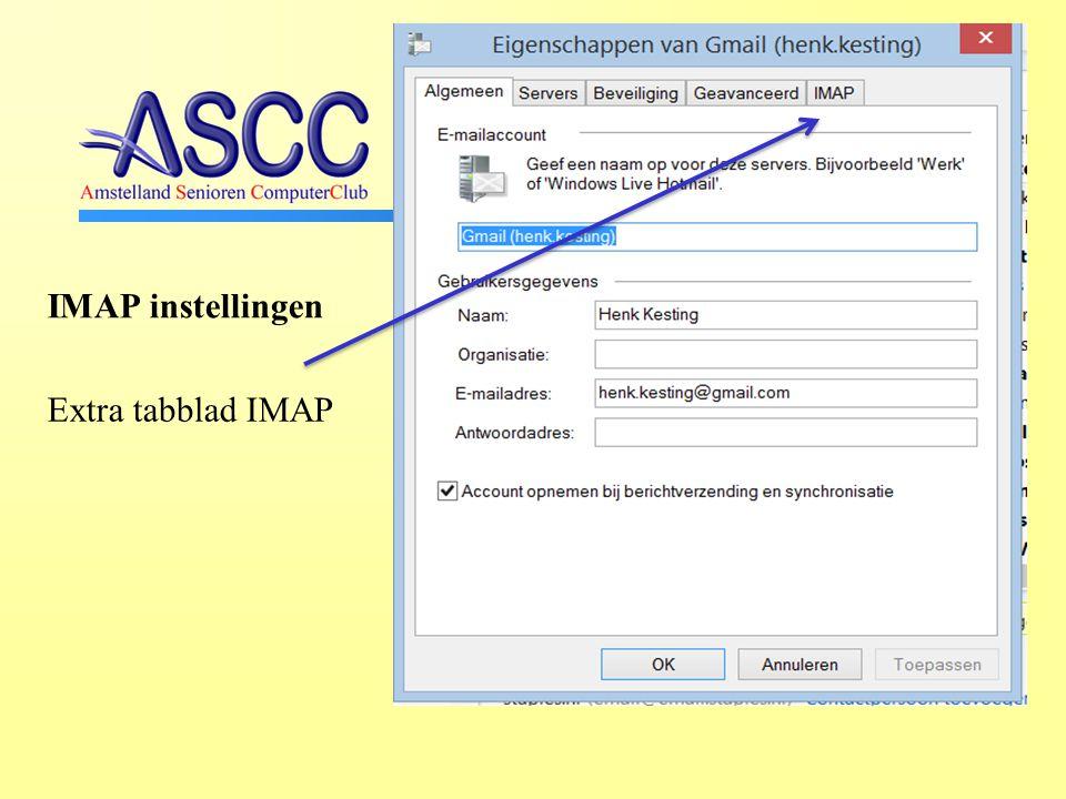 IMAP instellingen Extra tabblad IMAP