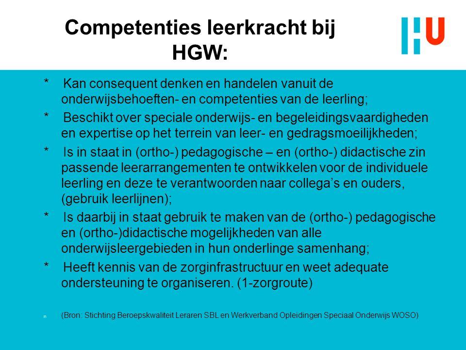 Competenties leerkracht bij HGW: * Kan consequent denken en handelen vanuit de onderwijsbehoeften- en competenties van de leerling; * Beschikt over sp