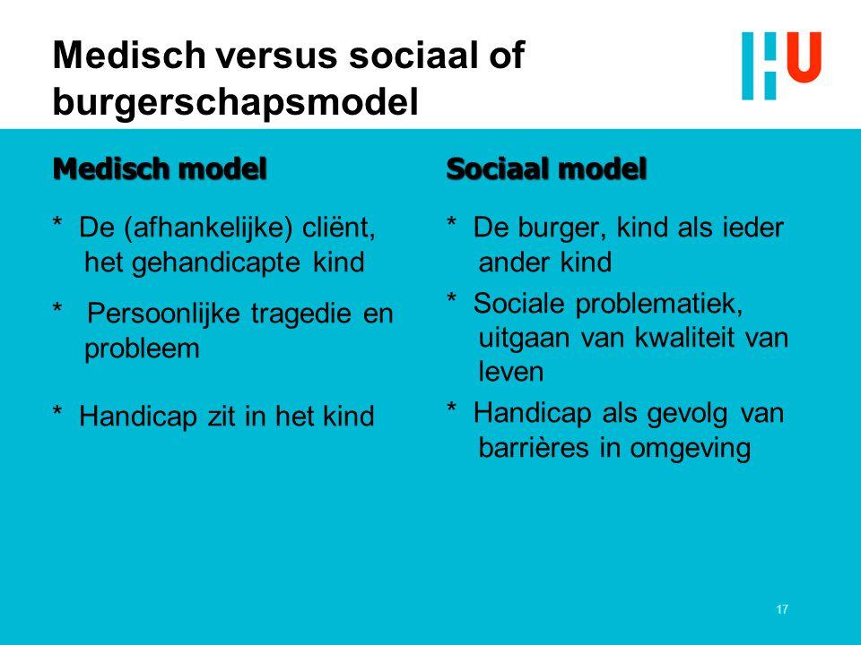 Medisch versus sociaal of burgerschapsmodel Medisch model * De (afhankelijke) cliënt, het gehandicapte kind * Persoonlijke tragedie en probleem * Hand