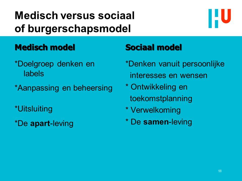 Medisch versus sociaal of burgerschapsmodel Medisch model *Doelgroep denken en labels *Aanpassing en beheersing *Uitsluiting *De apart-leving Sociaal