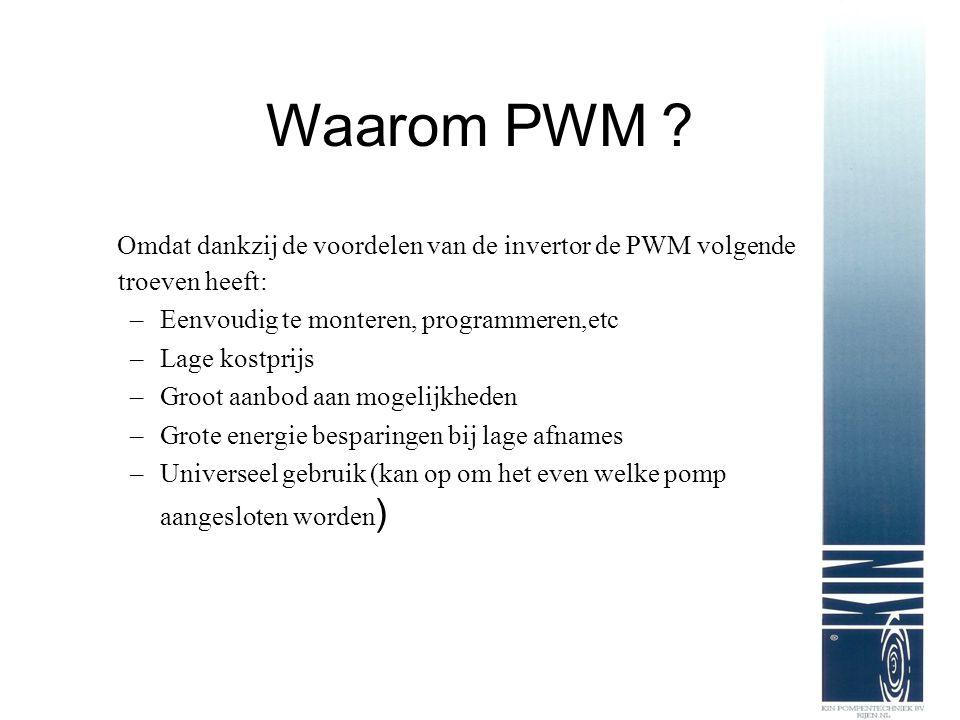 Waarom PWM ? Omdat dankzij de voordelen van de invertor de PWM volgende troeven heeft: –Eenvoudig te monteren, programmeren,etc –Lage kostprijs –Groot