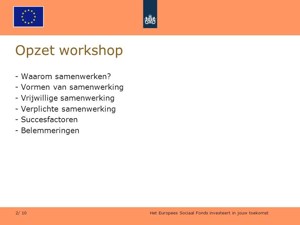 Het Europees Sociaal Fonds investeert in jouw toekomst 2/ 10 Opzet workshop - Waarom samenwerken? - Vormen van samenwerking - Vrijwillige samenwerking