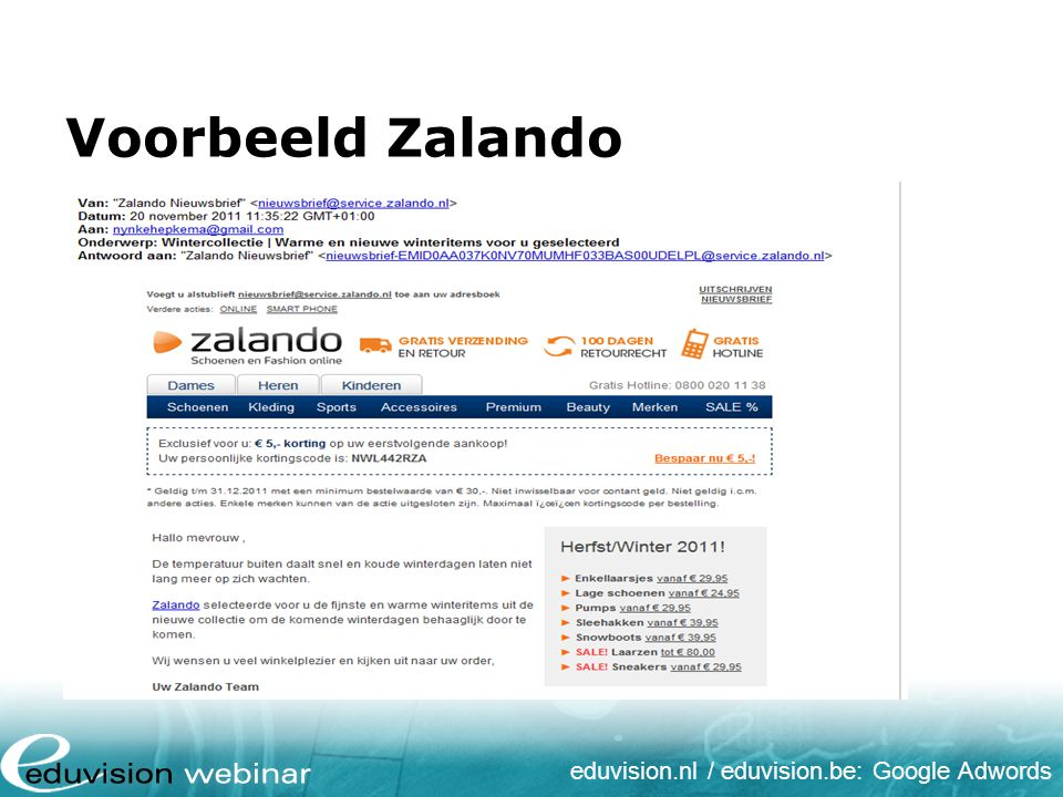 eduvision.nl / eduvision.be: Google Adwords Voorbeeld Zalando