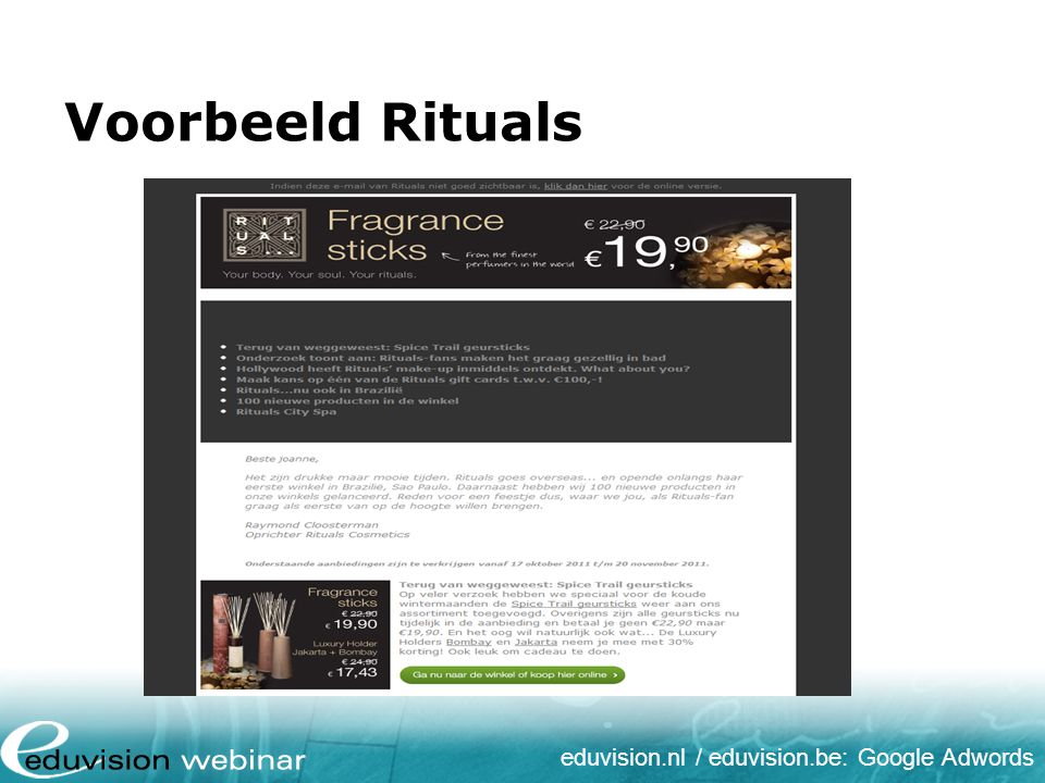 eduvision.nl / eduvision.be: Google Adwords Voorbeeld Rituals