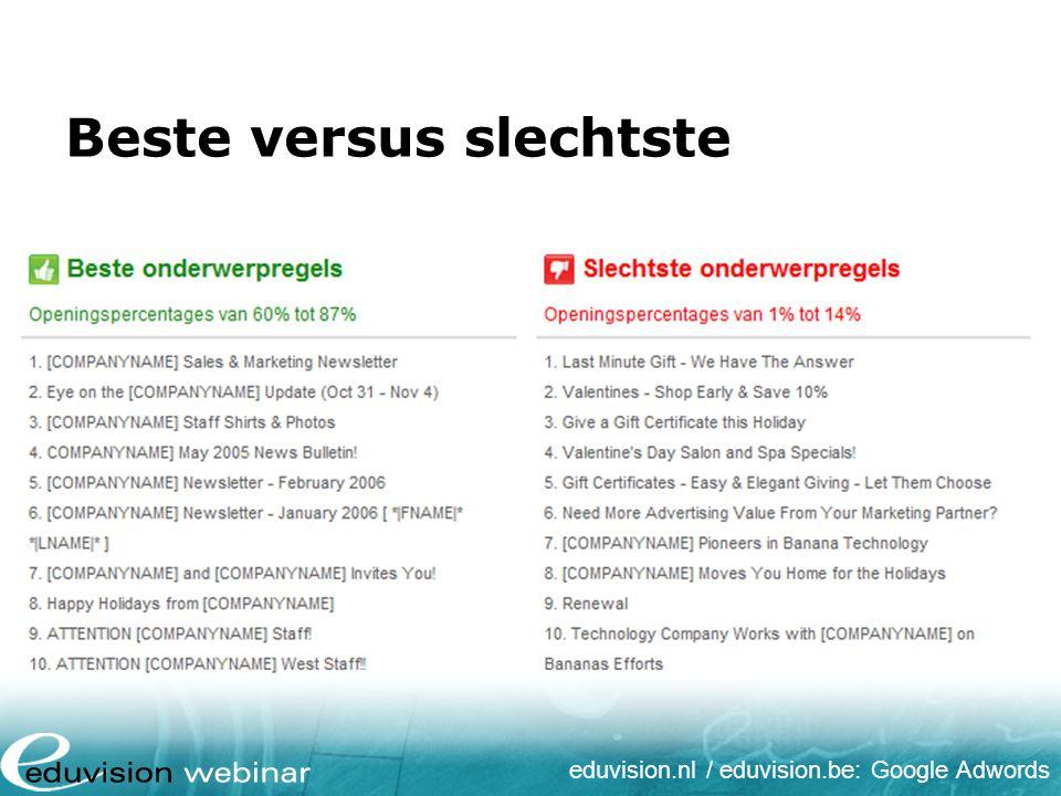 eduvision.nl / eduvision.be: Google Adwords Tips voor onderwerpregel Omschrijf duidelijk het onderwerp Sluit aan bij verwachtingen Onderwerp moet prikkelen Stel een vraag Maak de regel niet te lang Vermijd spamgevoelige woorden & tekens