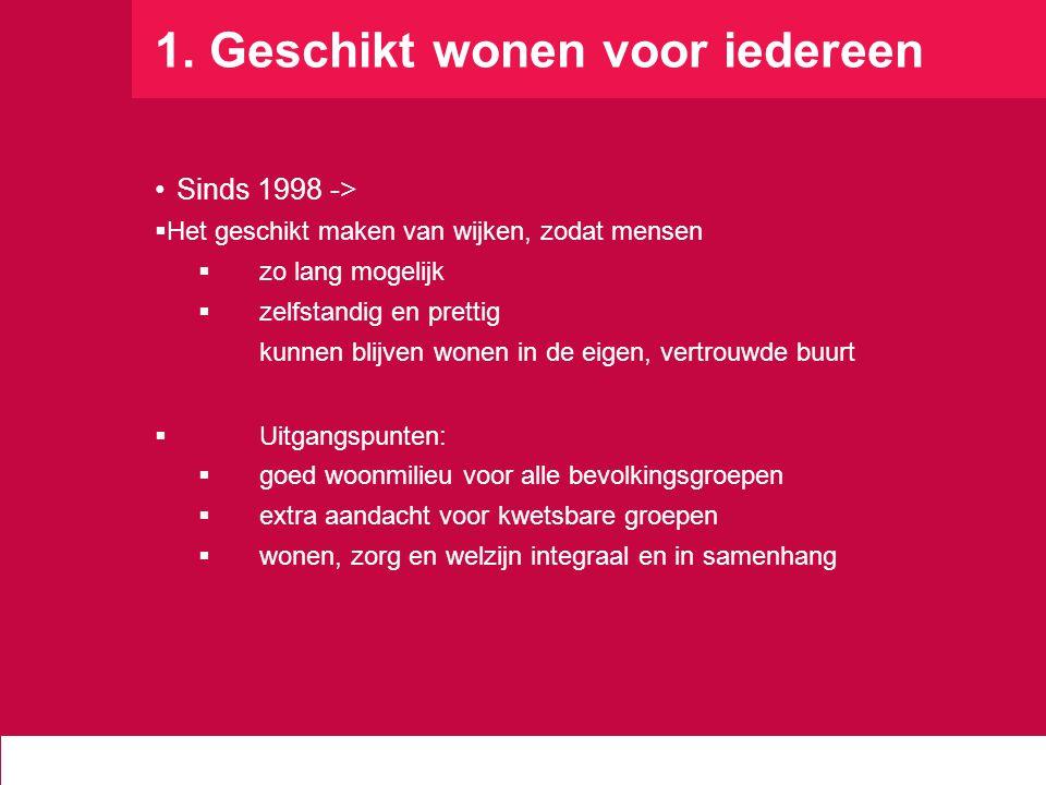 1. Geschikt wonen voor iedereen Sinds 1998 ->  Het geschikt maken van wijken, zodat mensen  zo lang mogelijk  zelfstandig en prettig kunnen blijven