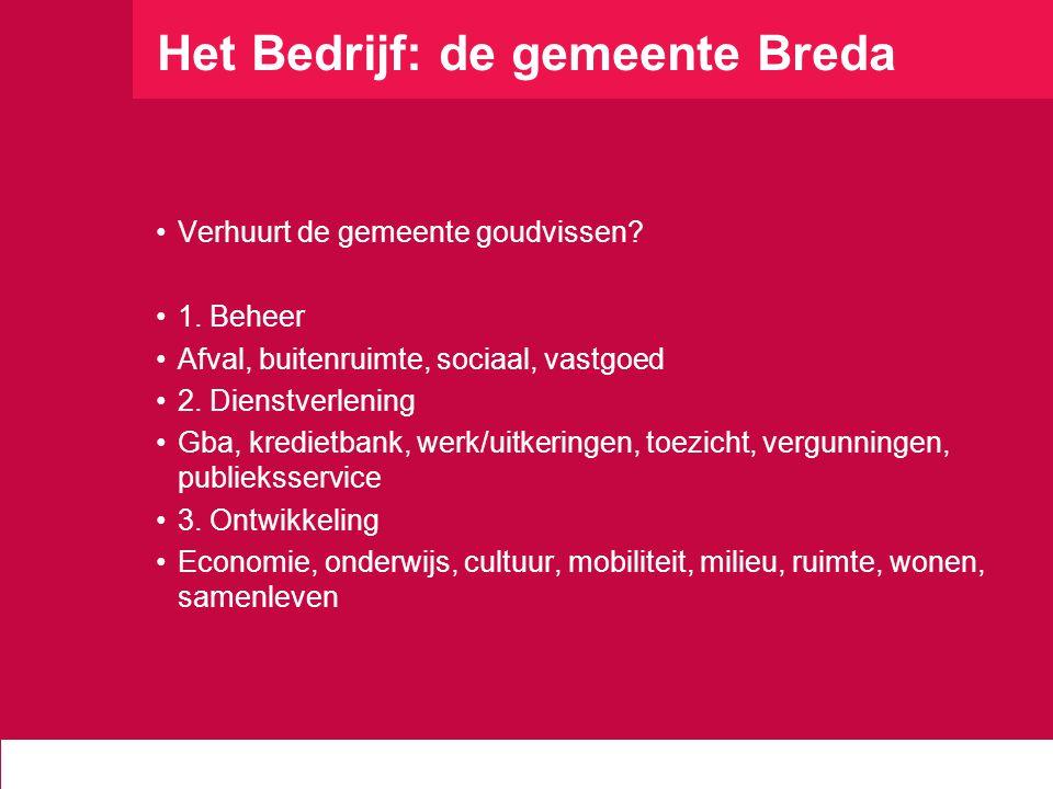 Het Bedrijf: de gemeente Breda Verhuurt de gemeente goudvissen? 1. Beheer Afval, buitenruimte, sociaal, vastgoed 2. Dienstverlening Gba, kredietbank,