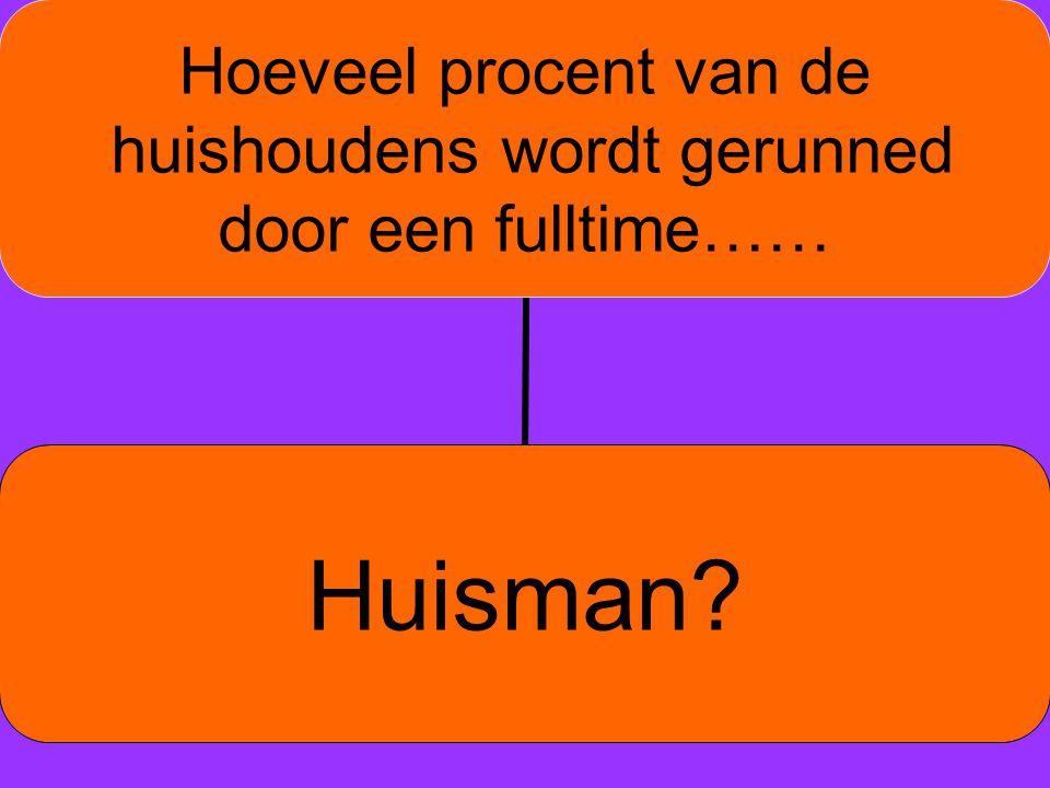 e Hoeveel procent van de huishoudens wordt gerunned door een fulltime…… Huisman?