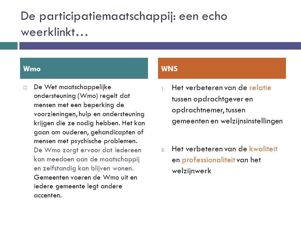 De participatiemaatschappij: een echo weerklinkt…  De Wet maatschappelijke ondersteuning (Wmo) regelt dat mensen met een beperking de voorzieningen,