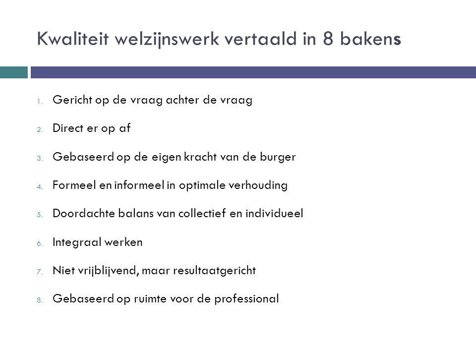 Kwaliteit welzijnswerk vertaald in 8 bakens 1. Gericht op de vraag achter de vraag 2. Direct er op af 3. Gebaseerd op de eigen kracht van de burger 4.
