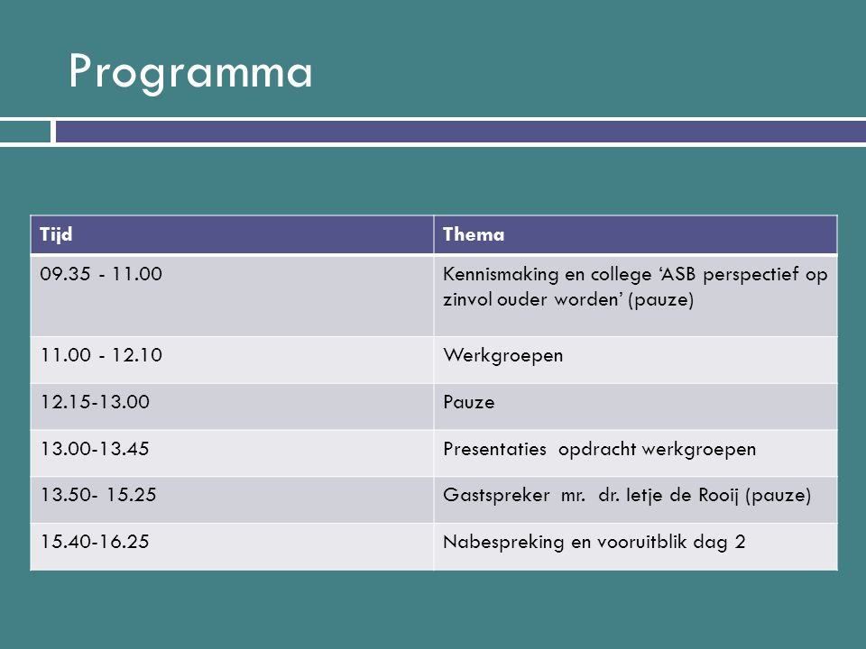 Programma TijdThema 09.35 - 11.00Kennismaking en college 'ASB perspectief op zinvol ouder worden' (pauze) 11.00 - 12.10Werkgroepen 12.15-13.00Pauze 13