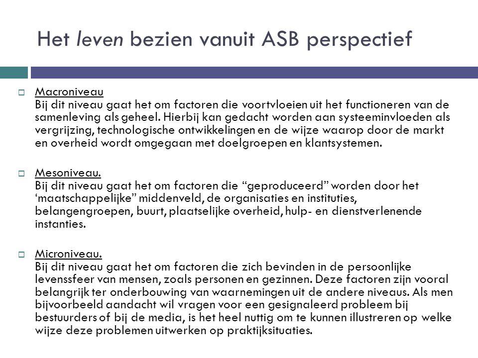 Het leven bezien vanuit ASB perspectief  Macroniveau Bij dit niveau gaat het om factoren die voortvloeien uit het functioneren van de samenleving als