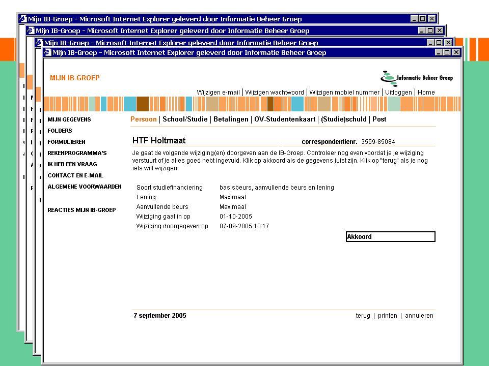 muteren on-line opgeleverd juni 2004 -achter beveiliging mijn ib-groep -eerst HO- en BO-studenten -registratie zonder tussenkomst van een medewerker -