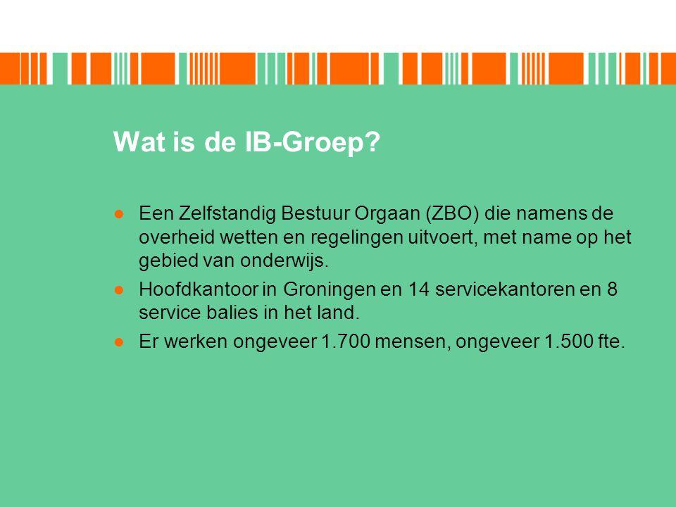 Wat is de IB-Groep? Een Zelfstandig Bestuur Orgaan (ZBO) die namens de overheid wetten en regelingen uitvoert, met name op het gebied van onderwijs. H