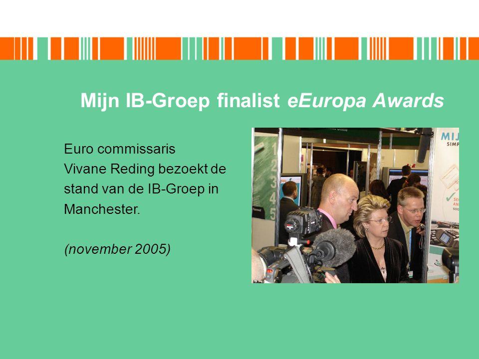 Mijn IB-Groep finalist eEuropa Awards Euro commissaris Vivane Reding bezoekt de stand van de IB-Groep in Manchester. (november 2005)