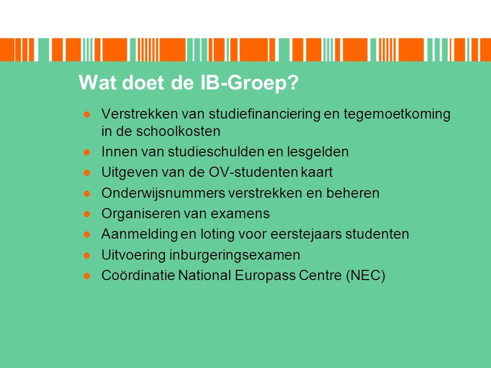 Wat doet de IB-Groep? Verstrekken van studiefinanciering en tegemoetkoming in de schoolkosten Innen van studieschulden en lesgelden Uitgeven van de OV