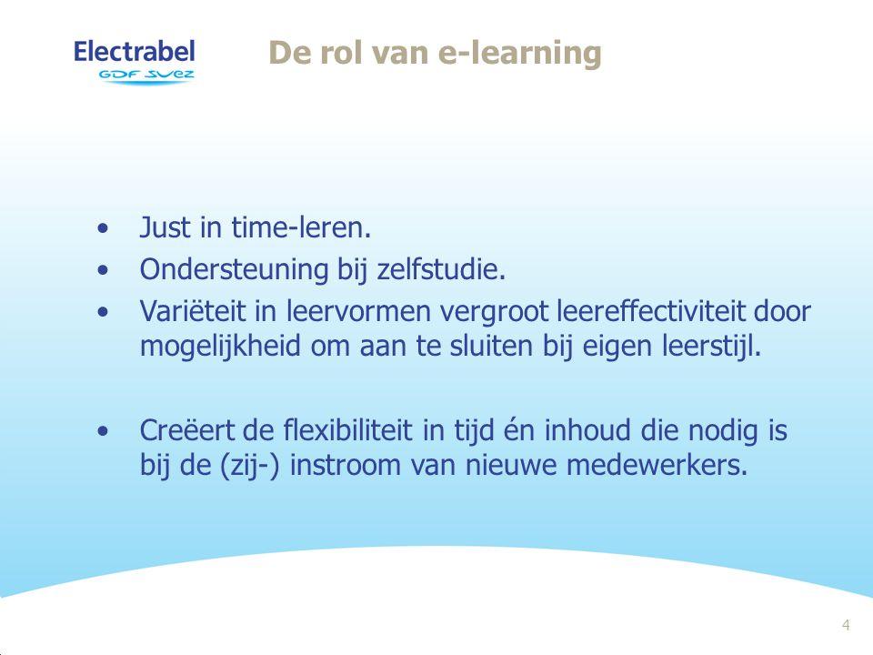 4 De rol van e-learning Just in time-leren. Ondersteuning bij zelfstudie.