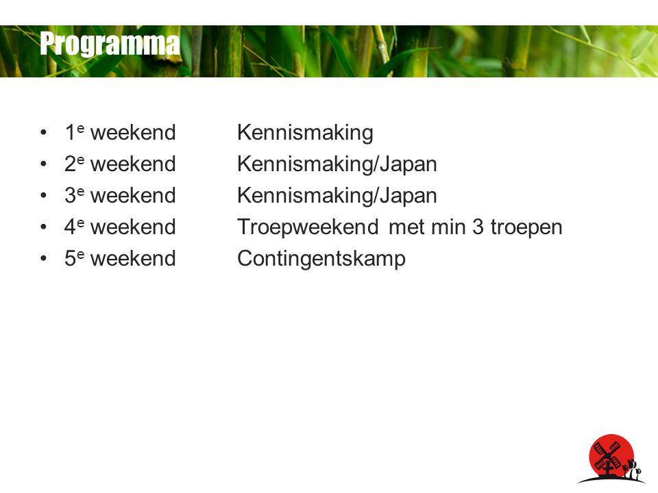 Programma 1 e weekendKennismaking 2 e weekendKennismaking/Japan 3 e weekendKennismaking/Japan 4 e weekendTroepweekend met min 3 troepen 5 e weekendContingentskamp