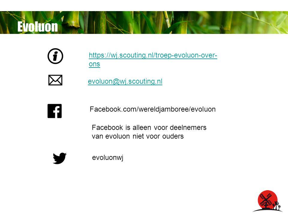 Evoluon Facebook.com/wereldjamboree/evoluon Facebook is alleen voor deelnemers van evoluon niet voor ouders evoluonwj evoluon@wj.scouting.nl https://wj.scouting.nl/troep-evoluon-over- ons