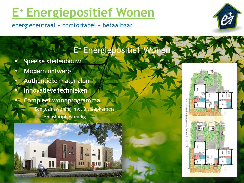 E + Energiepositief Wonen energieneutraal + comfortabel + betaalbaar E + Energiepositief Wonen Speelse stedenbouw Modern ontwerp Authentieke materiale