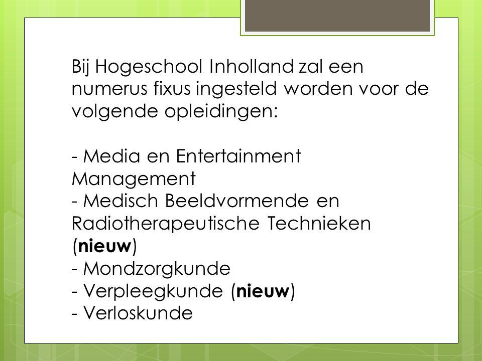 Bij Hogeschool Inholland zal een numerus fixus ingesteld worden voor de volgende opleidingen: - Media en Entertainment Management - Medisch Beeldvorme