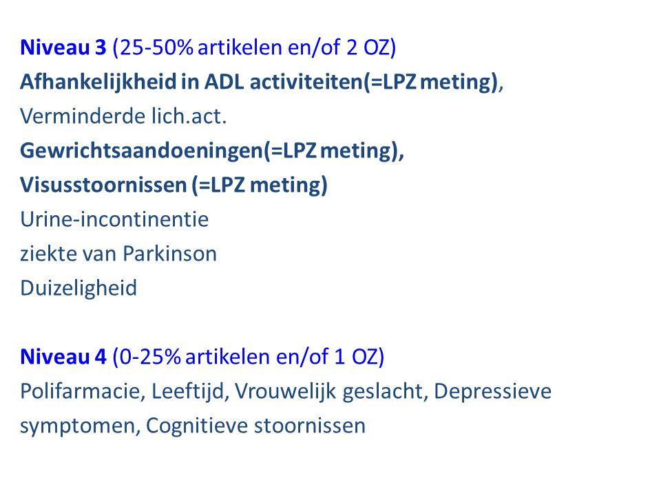 Niveau 3 (25-50% artikelen en/of 2 OZ) Afhankelijkheid in ADL activiteiten(=LPZ meting), Verminderde lich.act. Gewrichtsaandoeningen(=LPZ meting), Vis