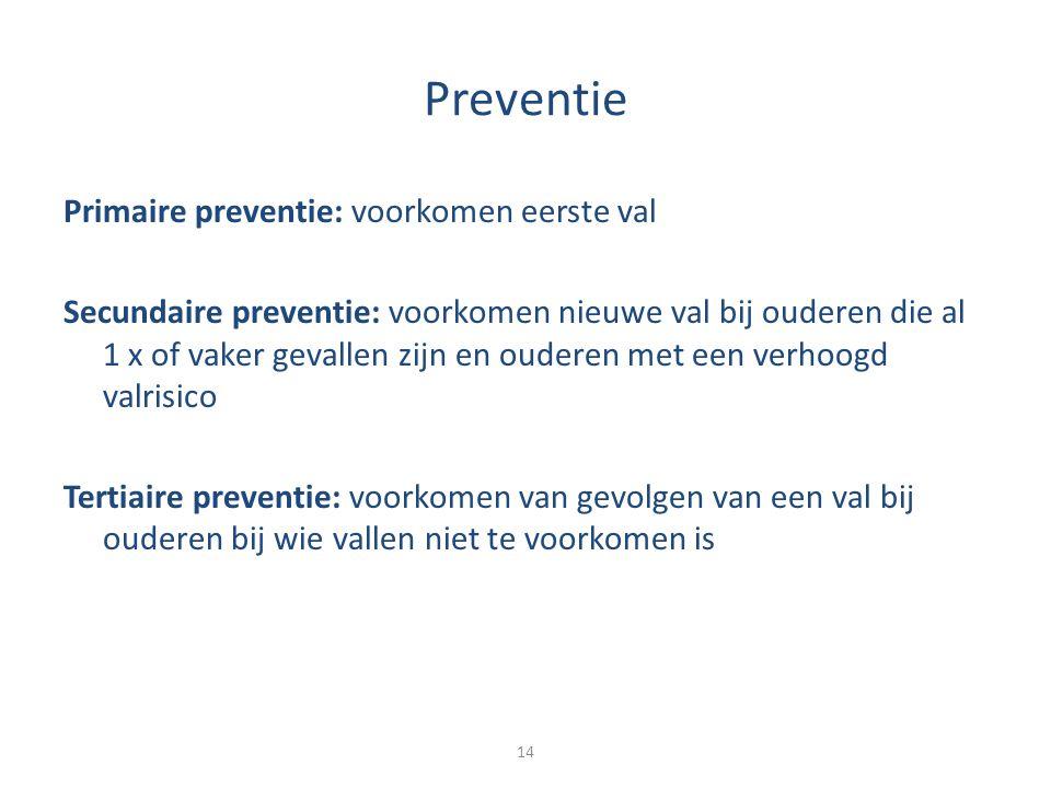 Preventie Primaire preventie: voorkomen eerste val Secundaire preventie: voorkomen nieuwe val bij ouderen die al 1 x of vaker gevallen zijn en ouderen