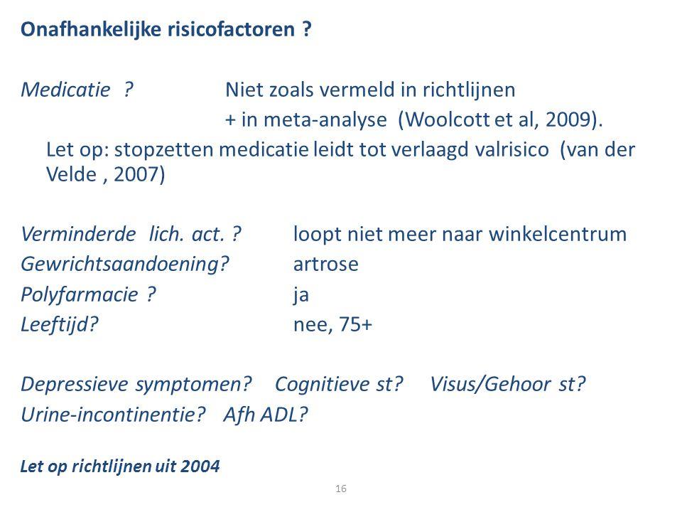 Onafhankelijke risicofactoren ? Medicatie ?Niet zoals vermeld in richtlijnen + in meta-analyse (Woolcott et al, 2009). Let op: stopzetten medicatie le