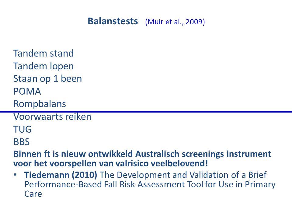 Balanstests (Muir et al., 2009) Tandem stand Tandem lopen Staan op 1 been POMA Rompbalans Voorwaarts reiken TUG BBS Binnen ft is nieuw ontwikkeld Aust