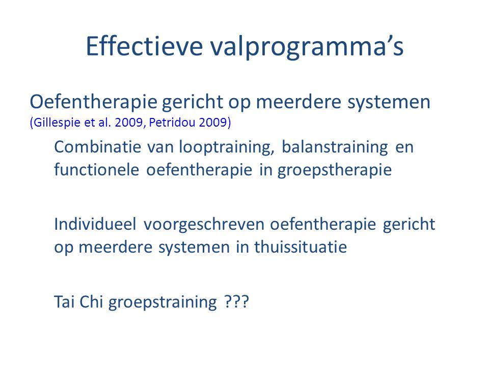 Effectieve valprogramma's Oefentherapie gericht op meerdere systemen (Gillespie et al. 2009, Petridou 2009) Combinatie van looptraining, balanstrainin