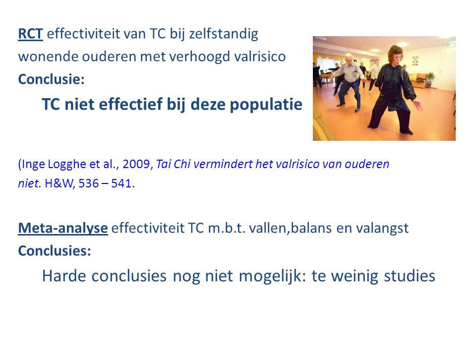 RCT effectiviteit van TC bij zelfstandig wonende ouderen met verhoogd valrisico Conclusie: TC niet effectief bij deze populatie (Inge Logghe et al., 2