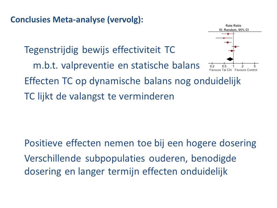Conclusies Meta-analyse (vervolg): Tegenstrijdig bewijs effectiviteit TC m.b.t. valpreventie en statische balans Effecten TC op dynamische balans nog