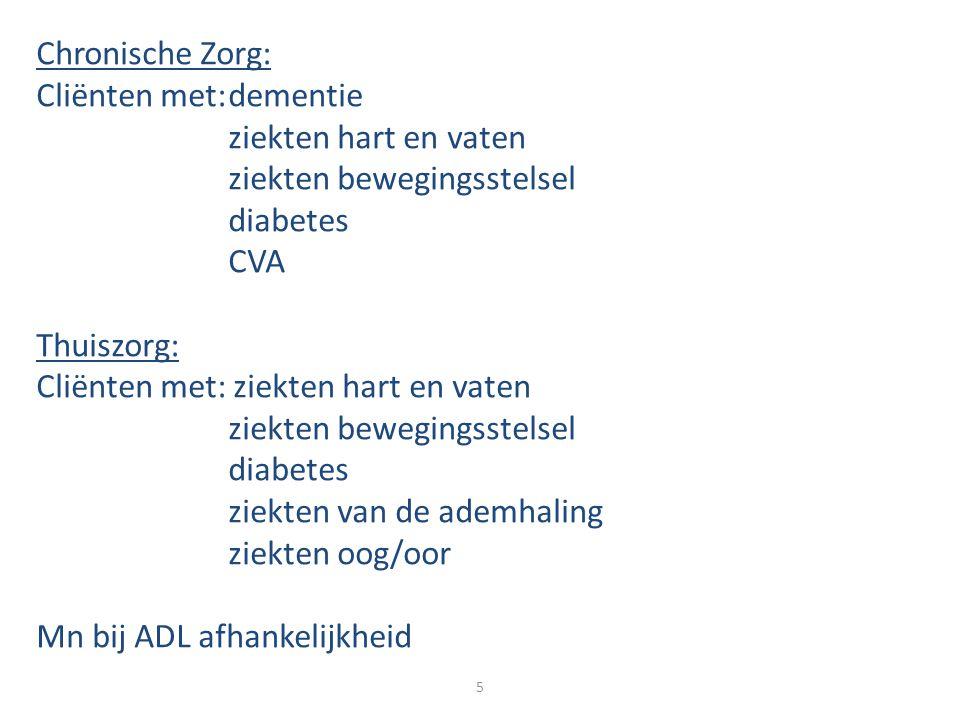 Chronische Zorg: Cliënten met:dementie ziekten hart en vaten ziekten bewegingsstelsel diabetes CVA Thuiszorg: Cliënten met: ziekten hart en vaten ziek