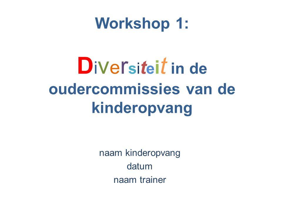 Workshop 1: D i v e r si t e i t in de oudercommissies van de kinderopvang naam kinderopvang datum naam trainer