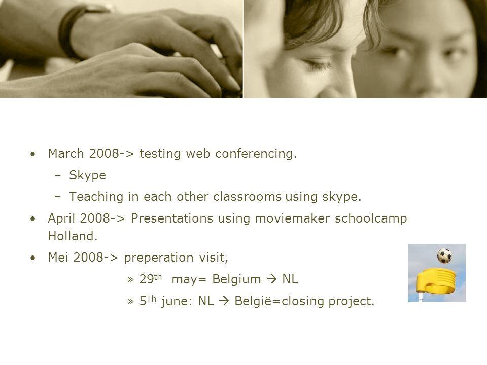 Planning Project December 2007-> Meeting teachers regarding planning project. Januari 2008->Using weblog, Sending first presentations from holland. –C