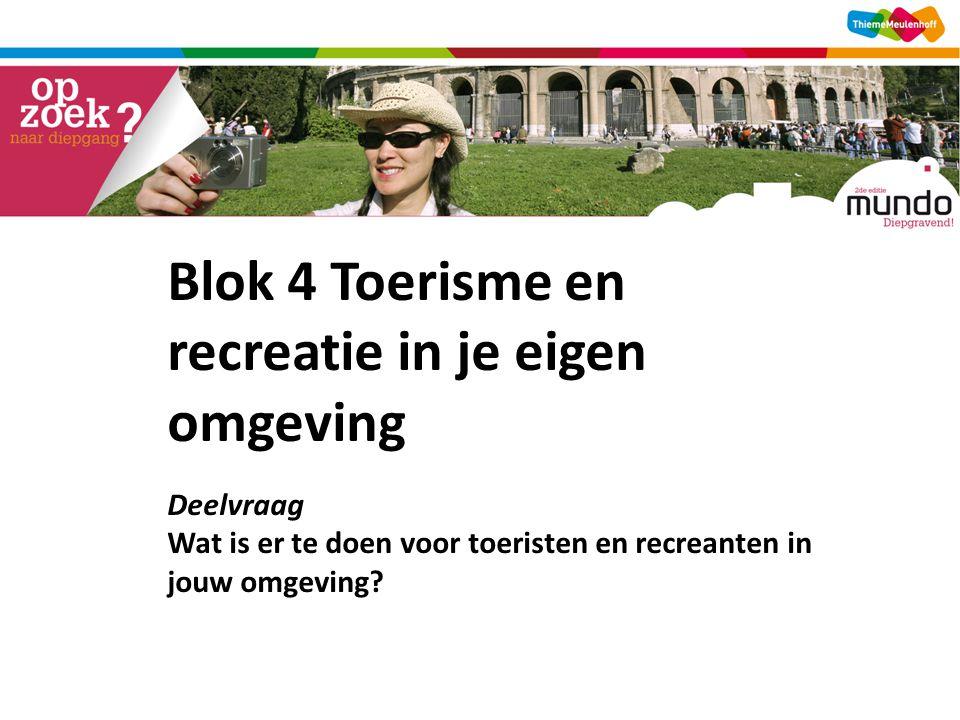 Blok 4 Toerisme en recreatie in je eigen omgeving Deelvraag Wat is er te doen voor toeristen en recreanten in jouw omgeving?