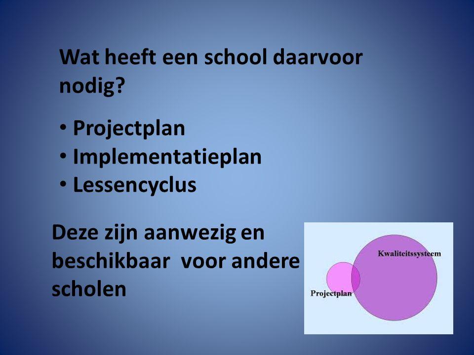 Wat heeft een school daarvoor nodig? Projectplan Implementatieplan Lessencyclus Deze zijn aanwezig en beschikbaar voor andere scholen
