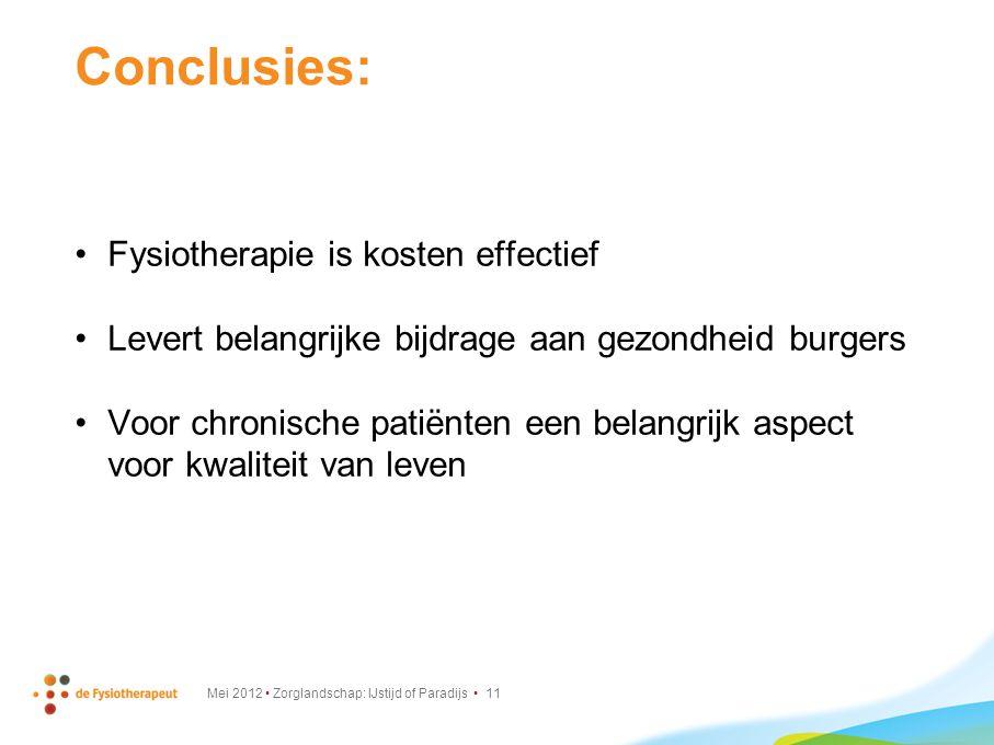 Conclusies: Fysiotherapie is kosten effectief Levert belangrijke bijdrage aan gezondheid burgers Voor chronische patiënten een belangrijk aspect voor kwaliteit van leven Mei 2012 Zorglandschap: IJstijd of Paradijs 11