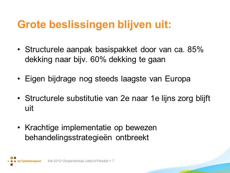 Grote beslissingen blijven uit (2) : Kosten-effectiviteit ontbreekt Preventie nog steeds het stiefkindje Huisarts nog steeds buiten eigen risico Mei 2012 Zorglandschap: IJstijd of Paradijs 8