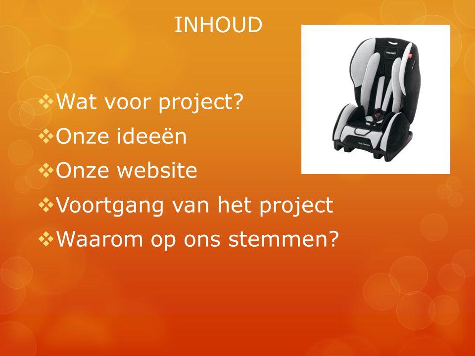 INHOUD  Wat voor project?  Onze ideeën  Onze website  Voortgang van het project  Waarom op ons stemmen?