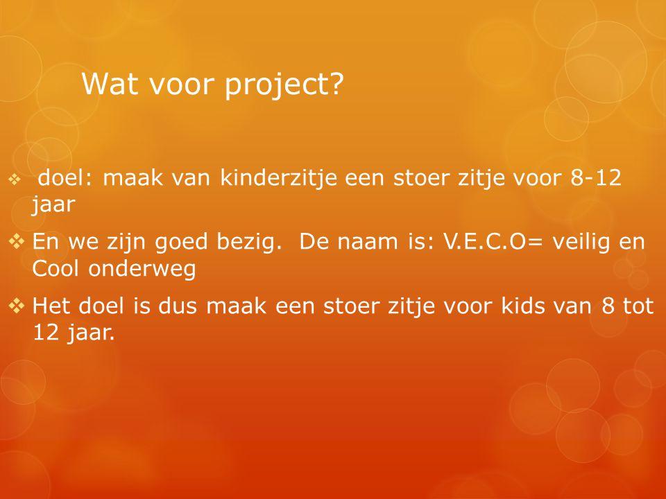 Wat voor project?  doel: maak van kinderzitje een stoer zitje voor 8-12 jaar  En we zijn goed bezig. De naam is: V.E.C.O= veilig en Cool onderweg 