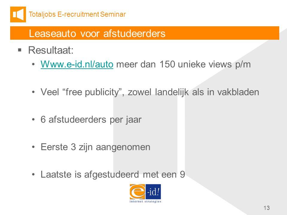 Totaljobs E-recruitment Seminar 13 Leaseauto voor afstudeerders  Resultaat: Www.e-id.nl/auto meer dan 150 unieke views p/mWww.e-id.nl/auto Veel free publicity , zowel landelijk als in vakbladen 6 afstudeerders per jaar Eerste 3 zijn aangenomen Laatste is afgestudeerd met een 9