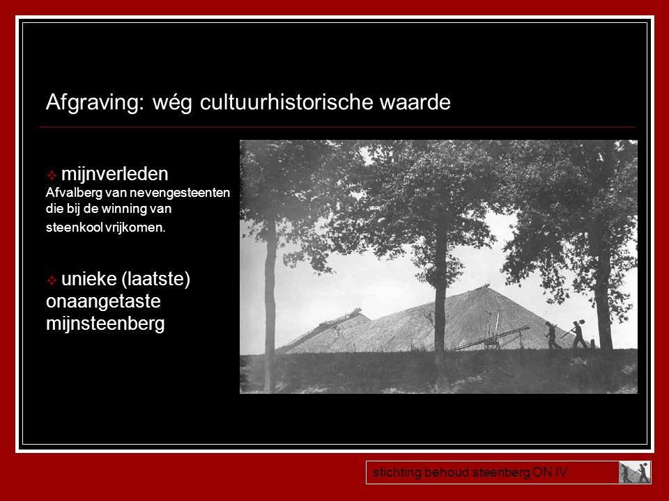 Afgraving: wég cultuurhistorische waarde  mijnverleden Afvalberg van nevengesteenten die bij de winning van steenkool vrijkomen.  unieke (laatste) o