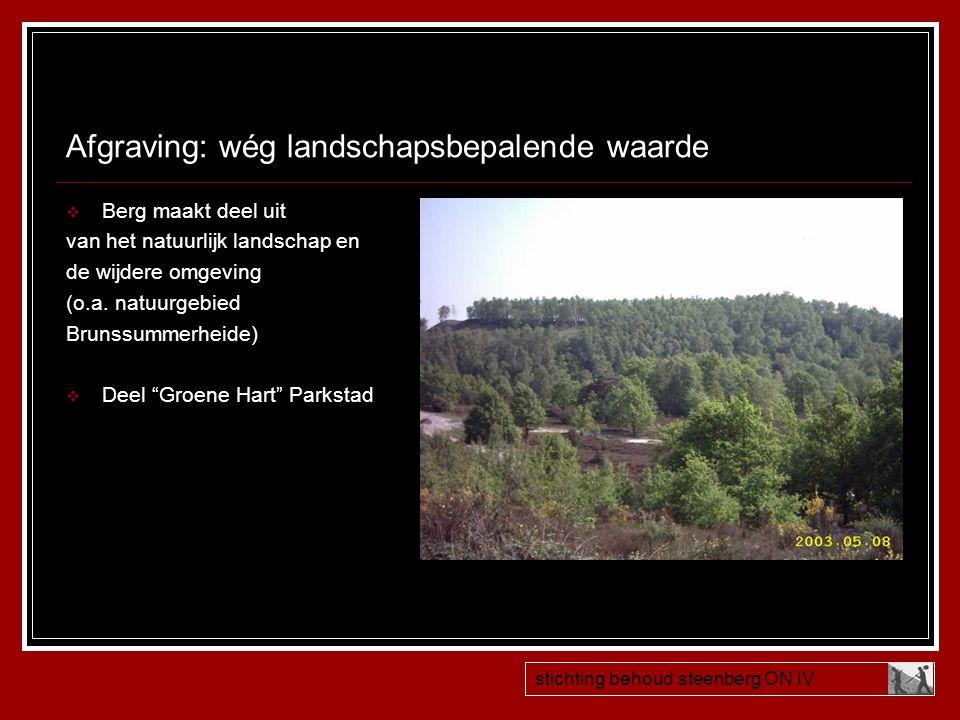Afgraving: wég landschapsbepalende waarde  Berg maakt deel uit van het natuurlijk landschap en de wijdere omgeving (o.a. natuurgebied Brunssummerheid