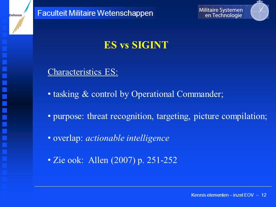 Kennis elementen – inzet EOV – 12 Faculteit Militaire Wetenschappen ES vs SIGINT Characteristics ES: tasking & control by Operational Commander; purpo