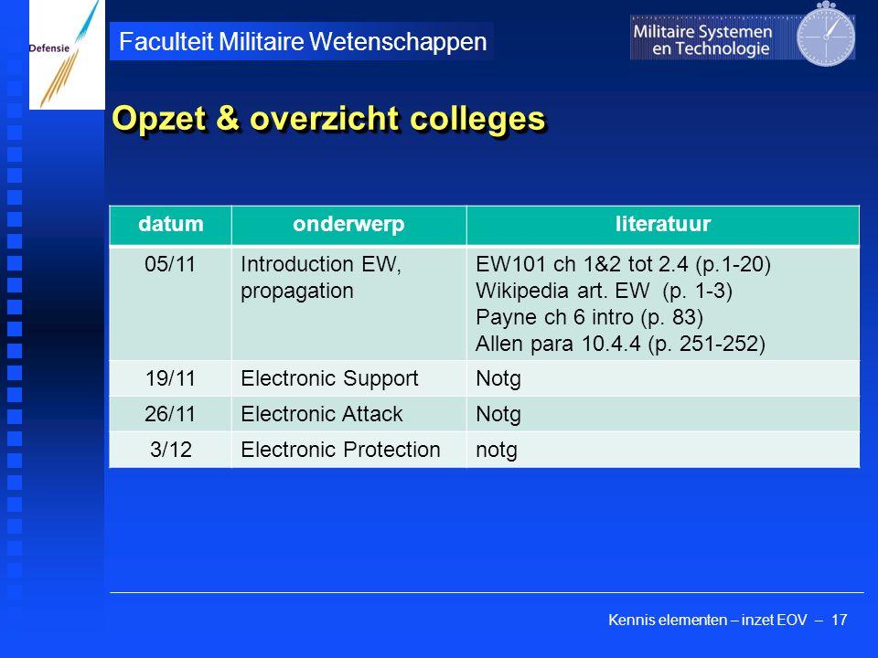 Kennis elementen – inzet EOV – 17 Faculteit Militaire Wetenschappen Opzet & overzicht colleges datumonderwerpliteratuur 05/11Introduction EW, propagation EW101 ch 1&2 tot 2.4 (p.1-20) Wikipedia art.