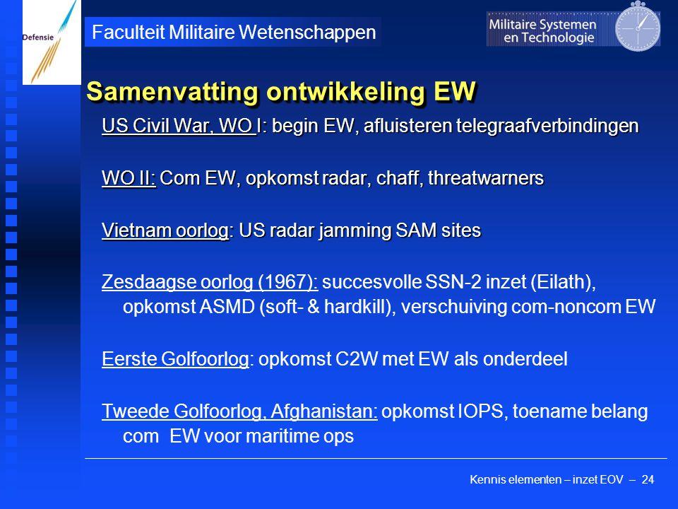 Kennis elementen – inzet EOV – 24 Faculteit Militaire Wetenschappen Samenvatting ontwikkeling EW US Civil War, WO I: begin EW, afluisteren telegraafverbindingen WO II: Com EW, opkomst radar, chaff, threatwarners Vietnam oorlog: US radar jamming SAM sites Zesdaagse oorlog (1967): succesvolle SSN-2 inzet (Eilath), opkomst ASMD (soft- & hardkill), verschuiving com-noncom EW Eerste Golfoorlog: opkomst C2W met EW als onderdeel Tweede Golfoorlog, Afghanistan: opkomst IOPS, toename belang com EW voor maritime ops