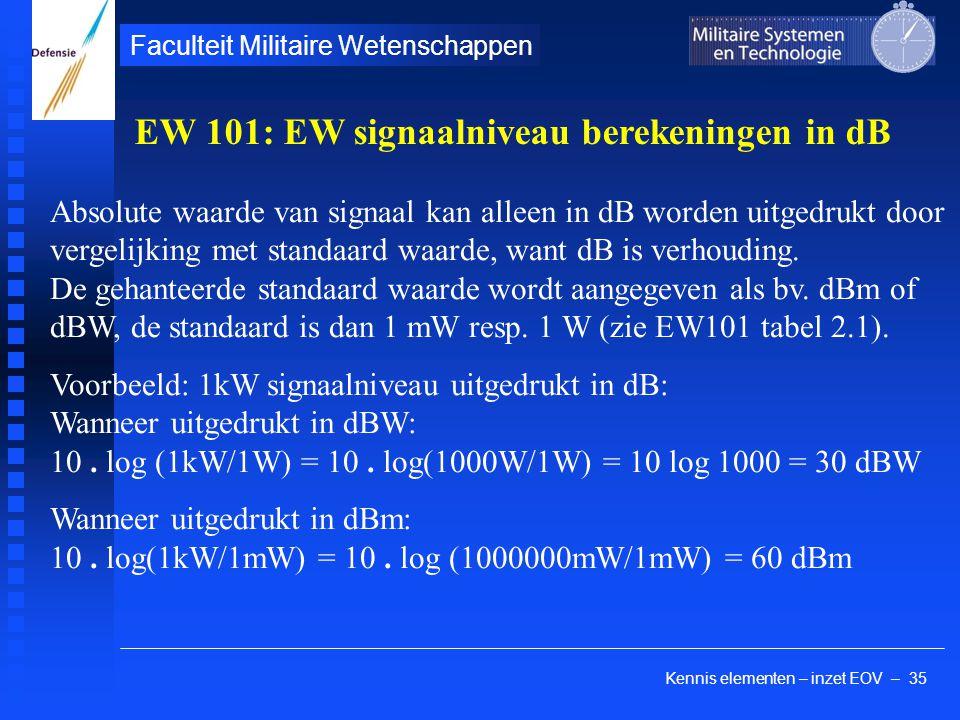 Kennis elementen – inzet EOV – 35 Faculteit Militaire Wetenschappen Absolute waarde van signaal kan alleen in dB worden uitgedrukt door vergelijking met standaard waarde, want dB is verhouding.